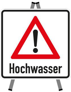 Warnschild Hochwasser