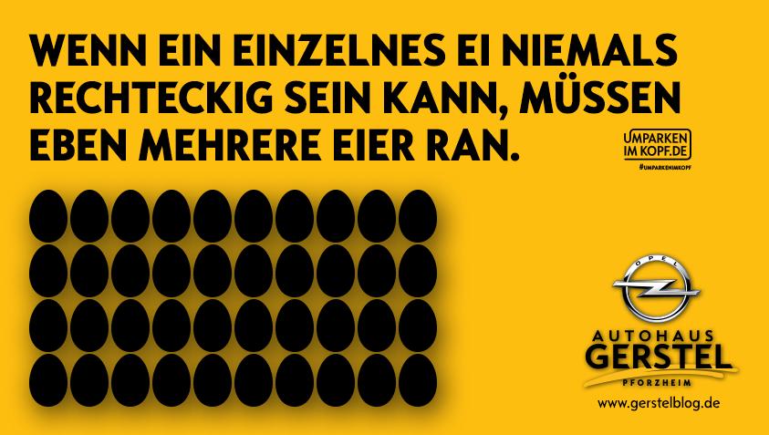 Wenn ein einzelnes Ei niemals rechteckig sein kann, müssen eben mehrere ran.