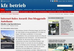 "Screenshot kfz-betrieb ""Das bloggende Autohaus"""
