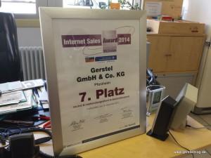 Urkunde des 7. Platz im Internet-Sales-Award 2014