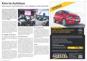 Anzeige & PR-Text Autohauskino 2015
