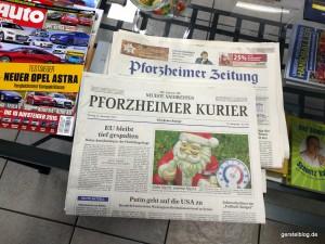 Tageszeitungen im Wartebereich: Pforzheimer Kurier und Pforzheimer Zeitung
