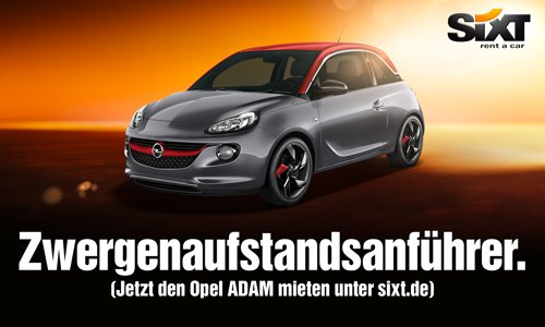 Sixt-Werbung mit dem Opel ADAM